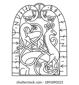 Ancient decorative mythical animal in Celtic, Scandinavian style, Scandinavian knot-work illustration, isolated on white, vector illustration
