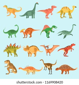 Ancient dinosaurus color vector icons set. Flat design
