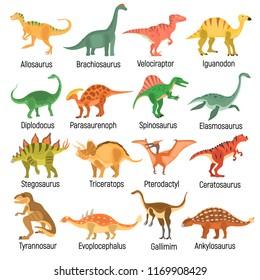 Ancient dinosaurus color vector icons set. Flat design
