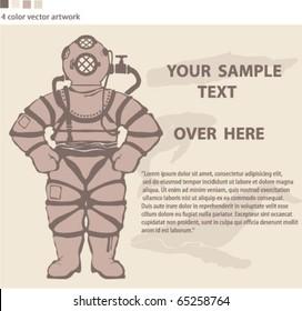 Ancient Diving suit vector artwork