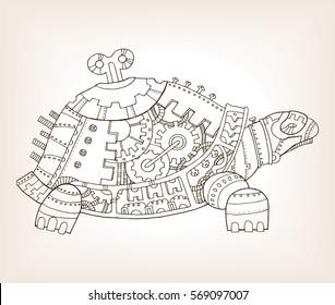 Ancient draft of mechanical turtle vector illustration. Mechanical animal.