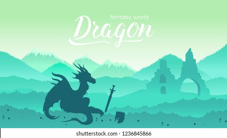 Ancient dragon sits majestically on field of battle among its treasures concept. Creatures in fantasy worlds vector illustration design. Nature