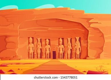 Ancient Egypt, Abu Simbel Small Temple, cartoon vector illustration. Rock carved temple facade with giant figures pharaoh Ramses and his wife Nefertari, travel Aswan landmark, World Heritage Monument