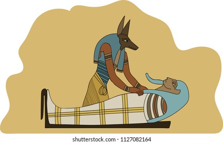 Ancient Egypt Anubis Embalming Mummification a Pharaoh Illustration