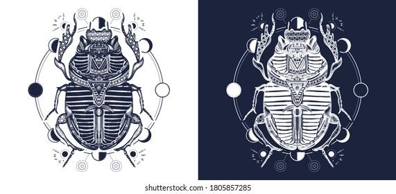 Ancient Egypt art. Esoteric scarab beetle and sacred moon phases tattoo. Spiritual symbol of pharaoh, god Ra, t-shirt design. Black and white vector graphics
