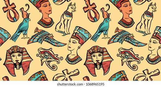 Ancient Egypt art pattern. Classic flash tattoo style Egypt, patches and stickers. Ancient Egypt vintage seamless pattern, old school tattoo. Pharaoh, ankh, eye Ra, Nefertiti, cat