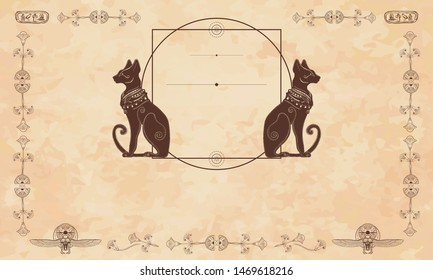 Ancient Egypt background.  Black cats and sacred scarab. Egyptian frame template. Old paper vector. Travel and History art