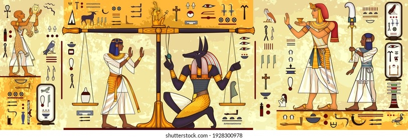 Ancient egypt background.Egyptian hieroglyph and symbolAncient culture sing and symbol.Anubis.Pharaoh.