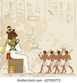 Ancient egypt banner.Egyptian hieroglyph and symbol. Stylized ancient culture background.Murals with ancient egypt scene
