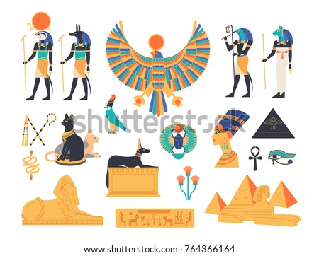 Ancient Egypt Collection Gods Deities Mythological Stock Vector