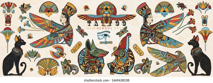 Ancient Egypt collection. Old school tattoo. Egyptian culture and religion elements. God Ra, Anubis, scarab, black cats, eye Horus. Traditional tattooing style
