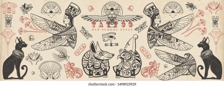 Ancient Egypt collection. Old school tattoo. Egyptian culture and religion elements. Vintage traditional tattooing style. God Ra, Anubis, scarab, black cats, eye Horus
