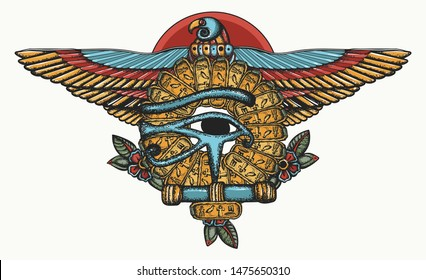 Ancient Egypt color tattoo. Sacred golden eagle and sun. Horus eye and egyptian falcon. History art, t-shirt design