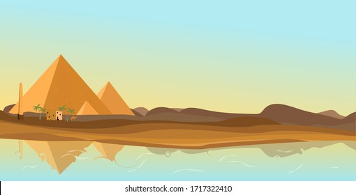 ancient Egypt desert with pyramid and Nile