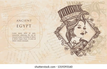 Ancient egypt. Egyptian goddess. Queen Nefertiti. Princess Cleopatra. Renaissance background. Medieval engraving manuscript. Vintage paper with drawings