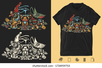 Ancient Egypt. Egyptian gods. Creative print for dark clothes. T-shirt design. Template for posters, textiles, apparels. Horus and Anubis