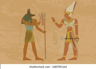 Ancient Egypt. Egyptian gods and pharaohs. Hieroglyphic drawings, murals, mythological scenes. Highly detailed vector illustration - HD.