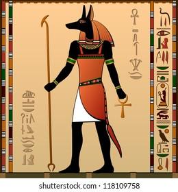 Ancient Egypt. Egyptian murals. Anubis - the jackal-headed deity.