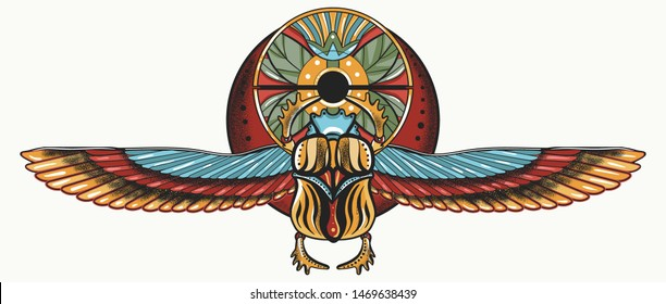 Ancient Egypt. Egyptian scarab  and wings. Color tattoo. Magic symbol of pharaoh, gods Ra and sun. Historical art, t-shirt design