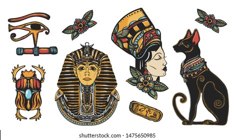 Ancient Egypt elements. Pharaoh,  black cats, sacred scarab, egyptian queen Cleopatra, eye Horus. Old school tattoo vector collection. Traditional tattooing style