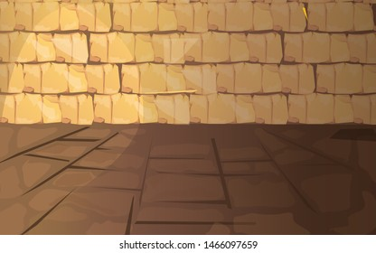 Ancient Egypt empty pharaoh tomb or temple room cartoon vector illustration. Egyptian pyramid interior with walls, floor of stone or sand blocks, background for game design