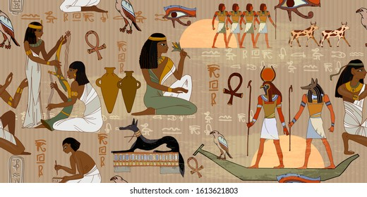 Ancient Egypt frescoes. Horizontal seamless pattern. Life of egyptians. Agriculture, workmanship, farm. History art. Hieroglyphic carvings on exterior walls of an old temple