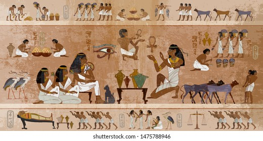 Ancient Egypt frescoes. Life of egyptians. Agriculture, workmanship, fishery, farm. Hieroglyphic carvings on  exterior walls of an ancient temple