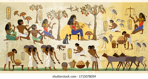Ancient Egypt frescoes. Old tradition and culture. Life of egyptians. History art. Agriculture, workmanship, fishery, farm. Hieroglyphic carvings on exterior walls of an old temple
