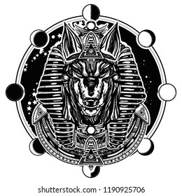 Ancient Egypt god of war, Golden Mask of the Pharaoh, symbol of next world, kingdom of dead. Anubis and moon phase tattoo and t-shirt design