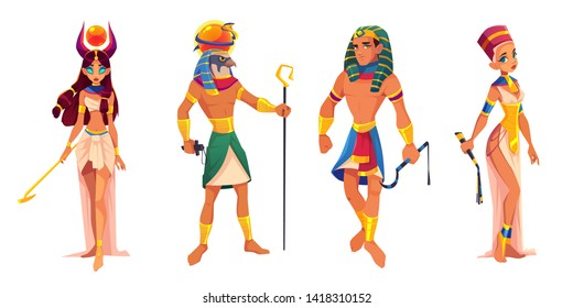 Ancient Egypt gods and rulers Hathor, Ra, Pharaoh, Nefertiti, Egyptian deities, king and queen with religion attributes isolated on white background, sacred characters. Cartoon vector illustration