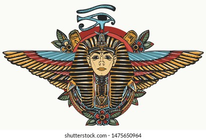 Ancient Egypt. Golden Pharaoh, Sun eye and wings Horus god. Egyptian great king. Tutankhamen. Color tattoo. Print for t-shirt design