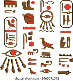 Ancient Egypt hieroglyphs cartoon vector collection. Egyptian culture symbols, pharaoh, sacred bird falcon and eye of Horus or Ra, wadjet isolated on a white background