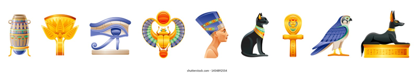Ancient Egypt icon set. 3d God, pharaoh sign. Cartoon vase, lotus, wadjet eye, scarab, Nefertiti, Cleopatra queen, Bastet cat, ankh coptic cross, Horus Ra falcon, Anubis dog tomb. Vector Egypt old art