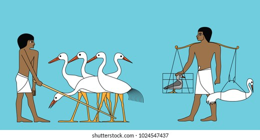 Ancient Egypt man working at cyconia farm illustration; Group of man working; Mural of working man; Ancient Egypt frescoes
