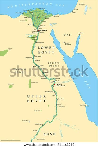 Starozytny Egipt Map Historyczna Mapa Wektorowa Ilustracja