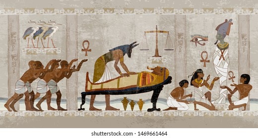 Ancient Egypt. Mummification process. Concept of a next world. Anubis and pharaoh sarcophagus. Egyptian gods, mythology. Hieroglyphic carvings. History wall painting, tomb King Tutankhamun