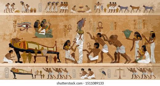 Ancient Egypt. Mummification process. Concept of a next world. Pharaoh sarcophagus. Egyptian gods, mythology. Hieroglyphic carvings. History wall painting, tomb King Tutankhamun