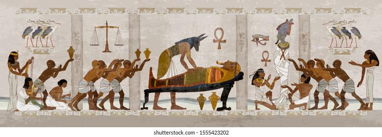 Ancient Egypt. Mummification process. Egyptian gods, mythology. Hieroglyphic carvings. History wall painting, tomb King Tutankhamun Concept of a next world. Anubis and pharaoh sarcophagus