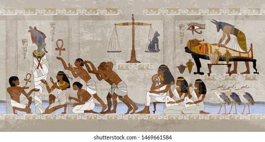 Ancient Egypt. Mummification process. Next world, religion. Anubis and pharaoh sarcophagus. Egyptian gods, mythology. Hieroglyphic carvings. History wall painting, tomb King Tutankhamun