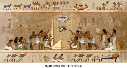 Ancient Egypt. Paleocontact frescoes. Aliens and egyptians. First contact. Spaceship UFO over pyramids. Ancient astronauts visited Earth, old stone murals