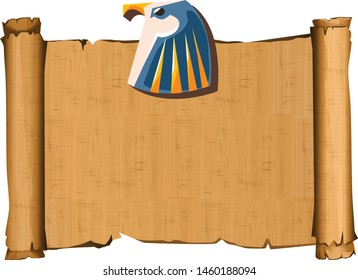 Ancient Egypt papyrus with falcon head cartoon vector illustration. Ancient paper with hieroglyphs, storing information, Egyptian culture religious symbol with sun god isolated on white background
