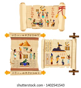 Ancient Egypt papyrus scroll cartoon vector collection with hieroglyphs and Egyptian culture religious symbols, ancient gods, pyramids, scarab and human figures. Decorated with red cord and isolated