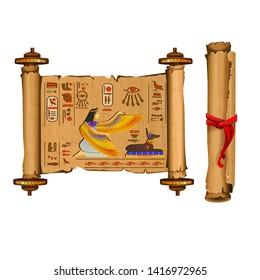 Ancient Egypt papyrus scroll cartoon vector collection with hieroglyphs and Egyptian culture religious symbols, ancient gods. Decorated with red cord and isolated on white background