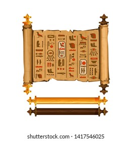 Ancient Egypt papyrus scroll cartoon vector collection with hieroglyphs and Egyptian culture religious symbols, ancient gods and sacred bird, isolated manuscript with dark and light wooden elements.