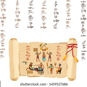Ancient Egypt papyrus scroll with red cord cartoon vector. Ancient paper with hieroglyphs and Egyptian culture religious symbols, ancient gods, chariot and human figures, isolated on white background