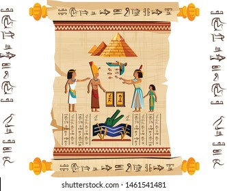 Ancient Egypt papyrus scroll with wooden rods cartoon vector. Ancient paper with hieroglyphs and Egyptian culture religious symbols, ancient gods, pyramids and human figures, isolated on white