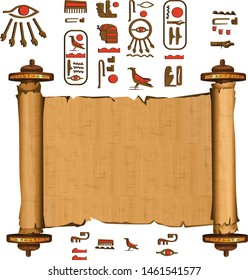 Ancient Egypt papyrus scroll with wooden rods cartoon vector. Ancient paper with hieroglyphs and Egyptian culture religious symbols, ancient gods, sacred bird, isolated manuscript on white background