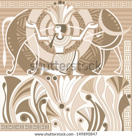 Ancient egypt pharaoh sitting on lotus stock vector royalty free ancient egypt pharaoh sitting on a lotus flower and the celestial cow mightylinksfo