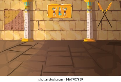 Ancient Egypt pharaoh tomb or temple room cartoon vector illustration. Egyptian pyramid interior with hieroglyphs and mural on stone walls and white columns with oranment, background for game design