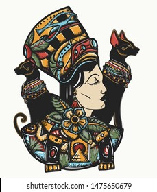 Ancient Egypt. Portrait egyptian queen Nefertiti and two black cats. Strong and independent woman. Old school tattoo  and t-shirt design